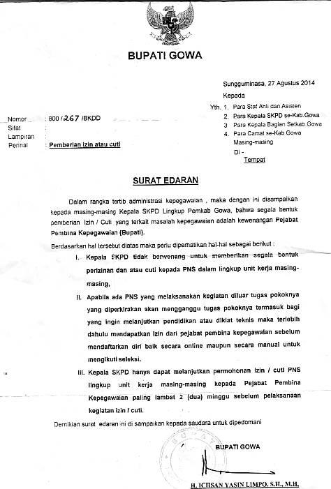 Surat Edaran Bupati Gowa Pemberian Izin Atau Cuti Bkpsdm Gowa