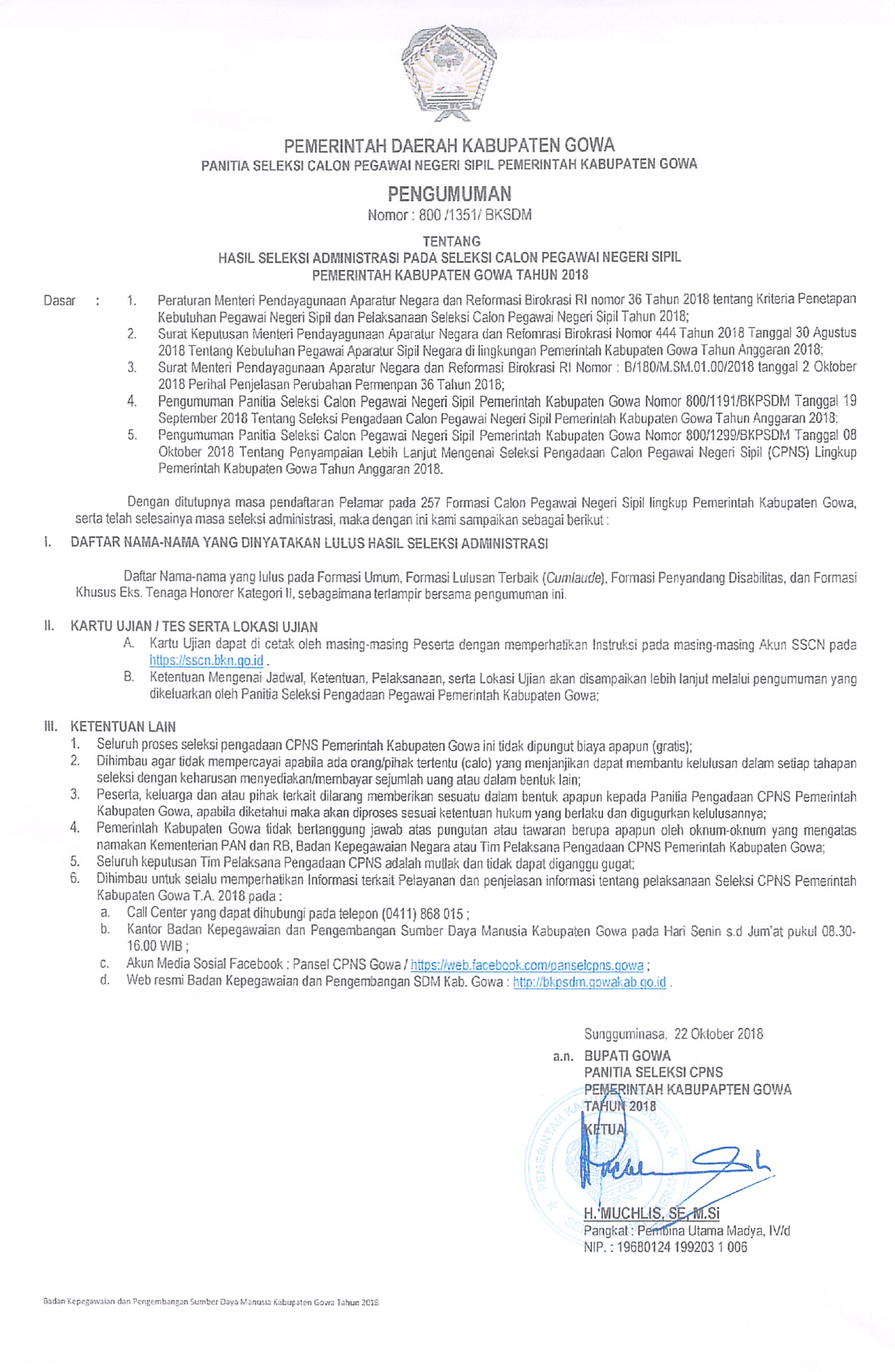 Daftar Kepegawaian Tahun 2016 Dpkd Kabupaten Gowa Wiring Library Snapper 30085 Ignition Harness Pengumuman Hasil Seleksi Administrasi Pada Cpns Pemkab 2018
