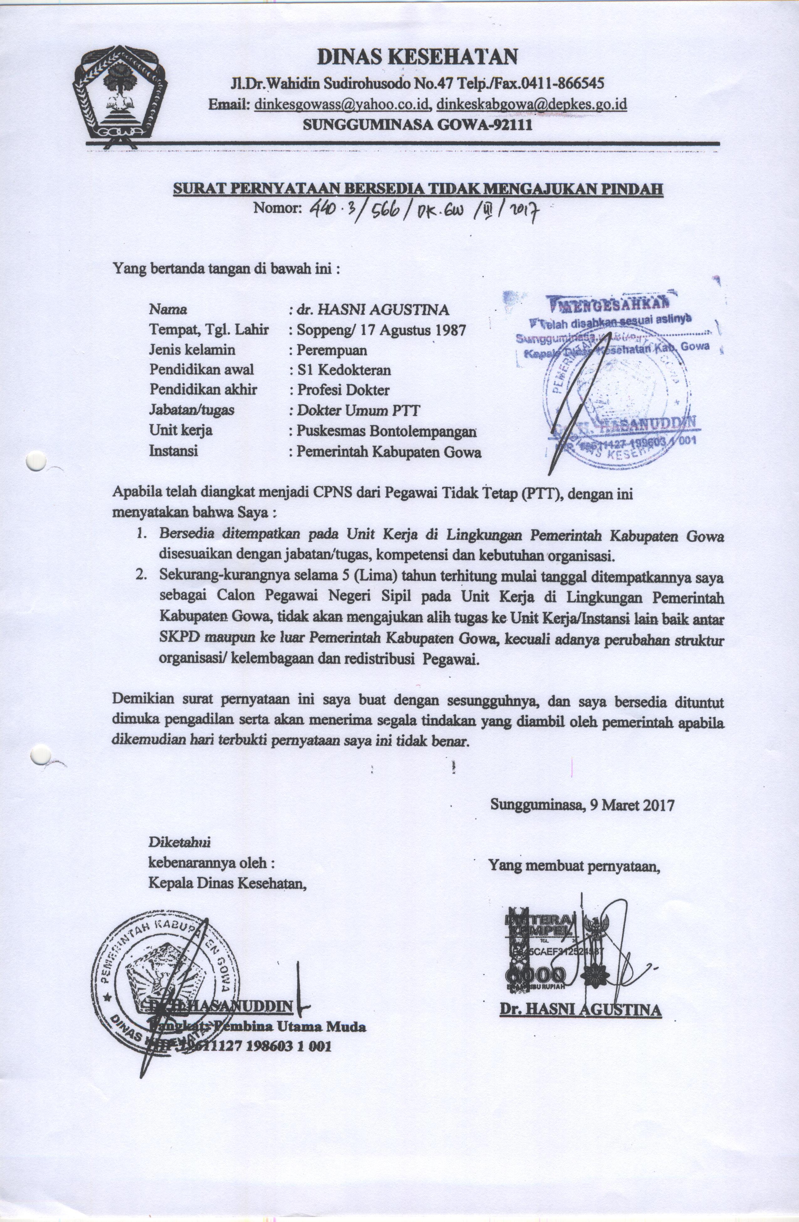 Contoh Surat Pernyataan Bersedia Tidak Mengajukan Pindah Bkpsdm Gowa
